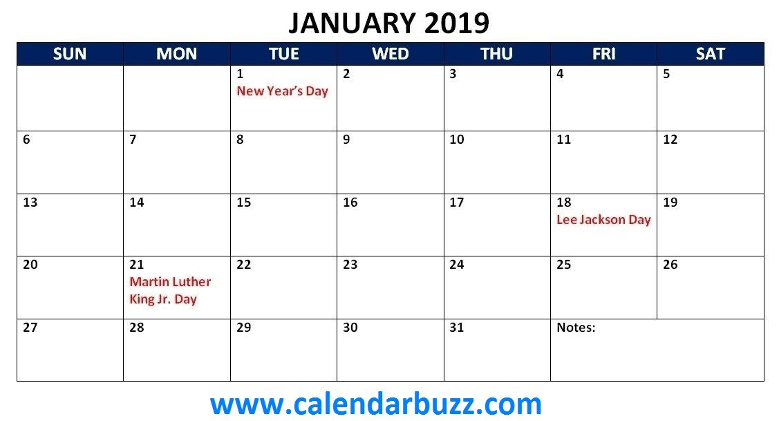 January 2019 Holidays Calendar Printable 2019 Calendars 2019