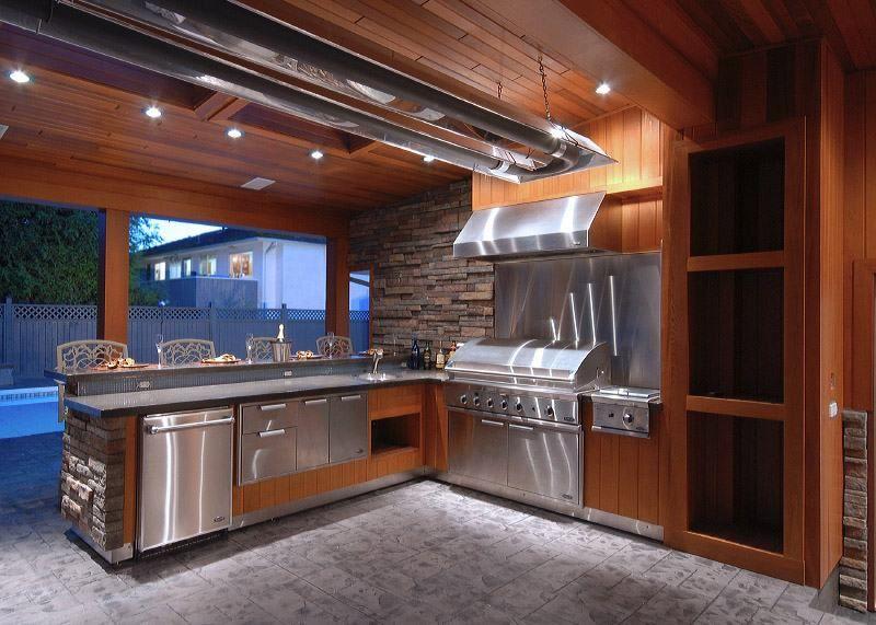 Exterioroutdoor Backyard Kitchen Design Granite Backsplash Wall - Wood-backsplash-exterior