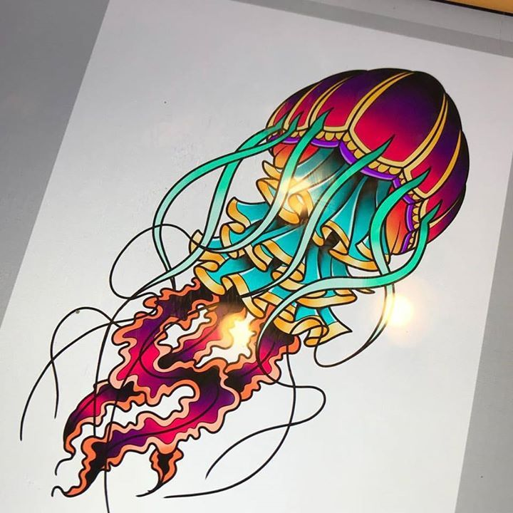 Got This Colorful Little Jellyfish Up For Grabs Would Look Great On A Forearm Or A Calf Http Ift Tt 1hqj Tattoo Flash Art Jellyfish Tattoo Jellyfish Art