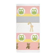 Petal Stripes Friends Beach Towel> Petal Stripes Friends> DrapeStudio - Cute design with zoo animals & teddy bears and soft petal pink, yellow and gray stripes - see more original & fun designs in our shop at www.cafepress.com/drapestudio and www.etsy.com/shop/drapestudio AND always a big Thank You for sharing our shops with your friends!
