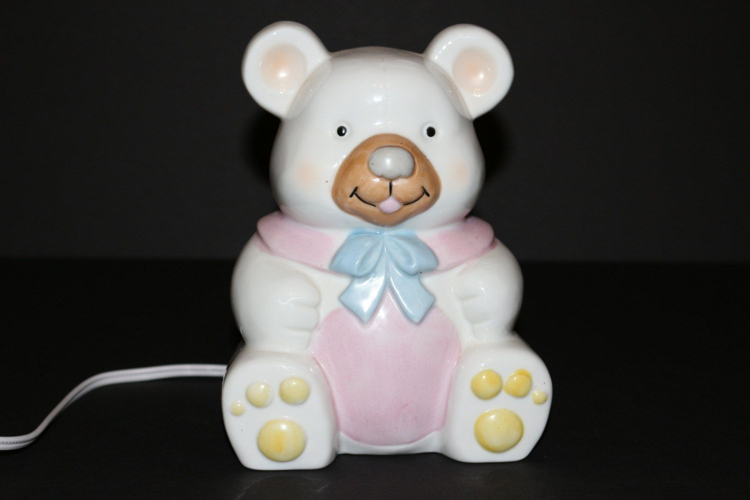 Vintage Lefton China Teddy Bear Nursery Lamp 1985 Childs Night Light White Pink Newborn Baby Shower Gift Collectible by TresorsEnchantes on Etsy
