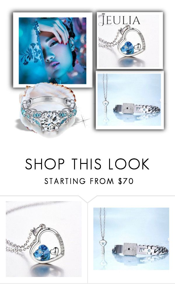 """Jeulia Jewelry Blue Brilliant Passion 16"" by minka-989 ❤ liked on Polyvore featuring Blue, jewelry and jeulia"