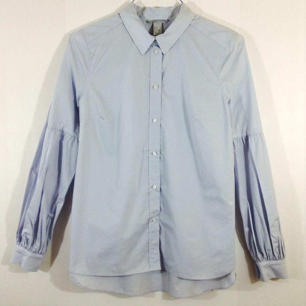 1e79f26a H&M Womens Long Bishop Sleeves Powder Blue Button Down Shirt Top Size 12 NWT  #HM #ButtonDownShirt #CasualCareer