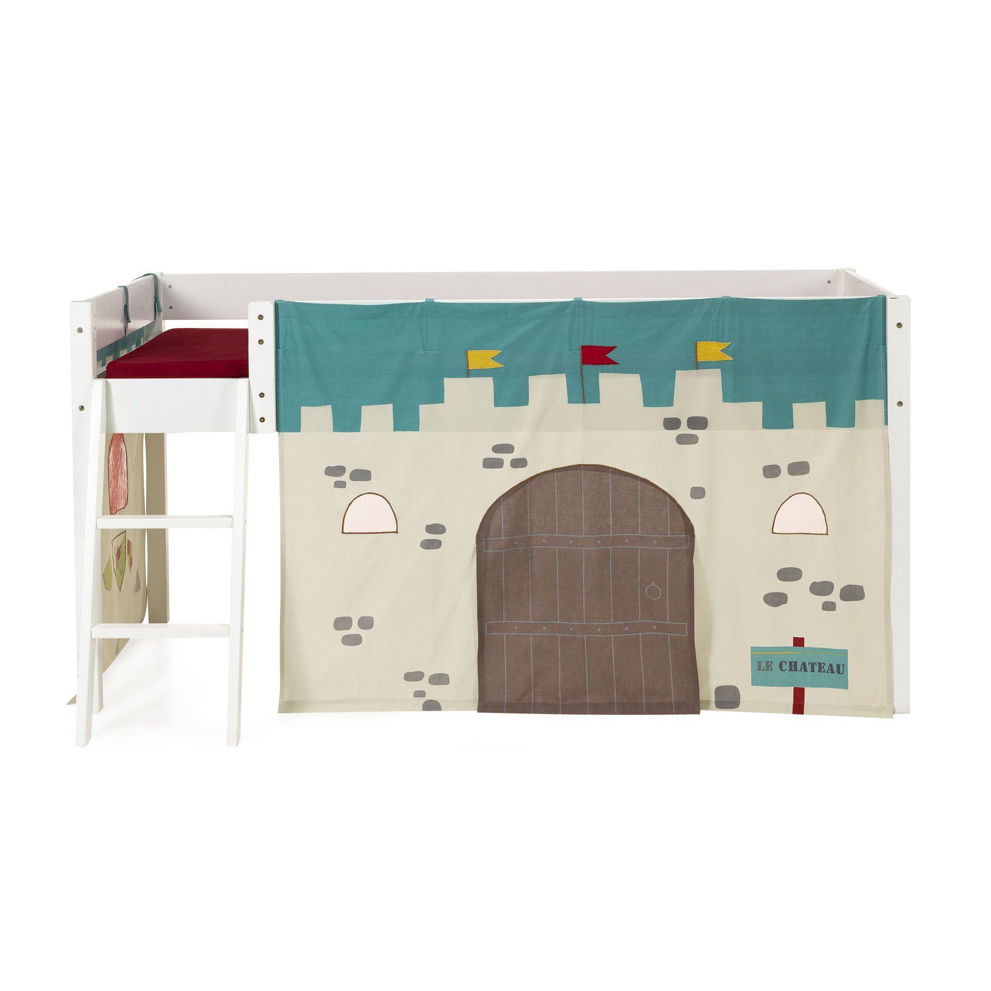 Tente de lit mi-haut pour enfant - Thème chevalier Bleu, marron ...