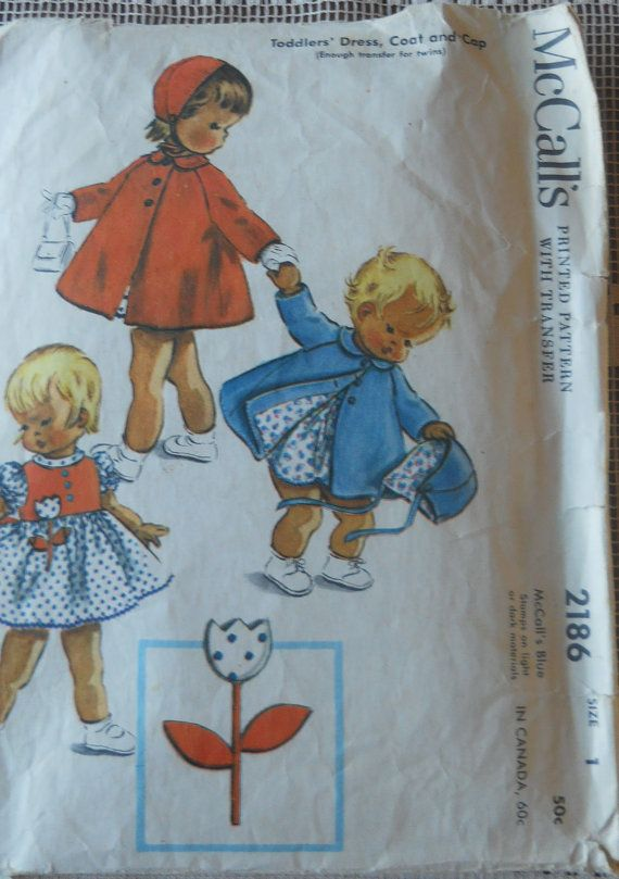 VINTAGE MCCALL'S Girls Size 1 2186 by cottagardonna on Etsy, $8.00