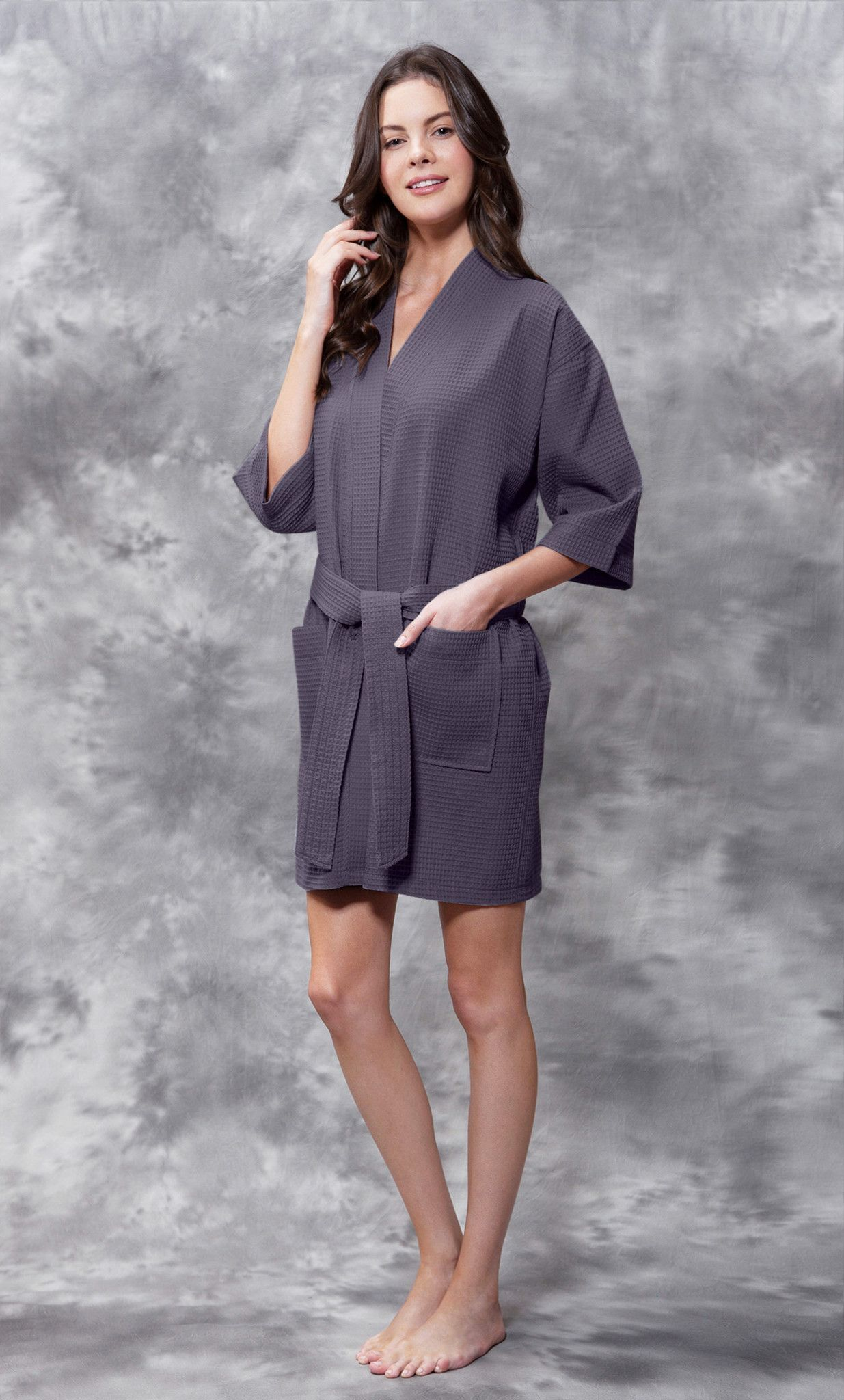 0a8951fc3f3 Waffle Kimono Charcoal Gray Short Robe