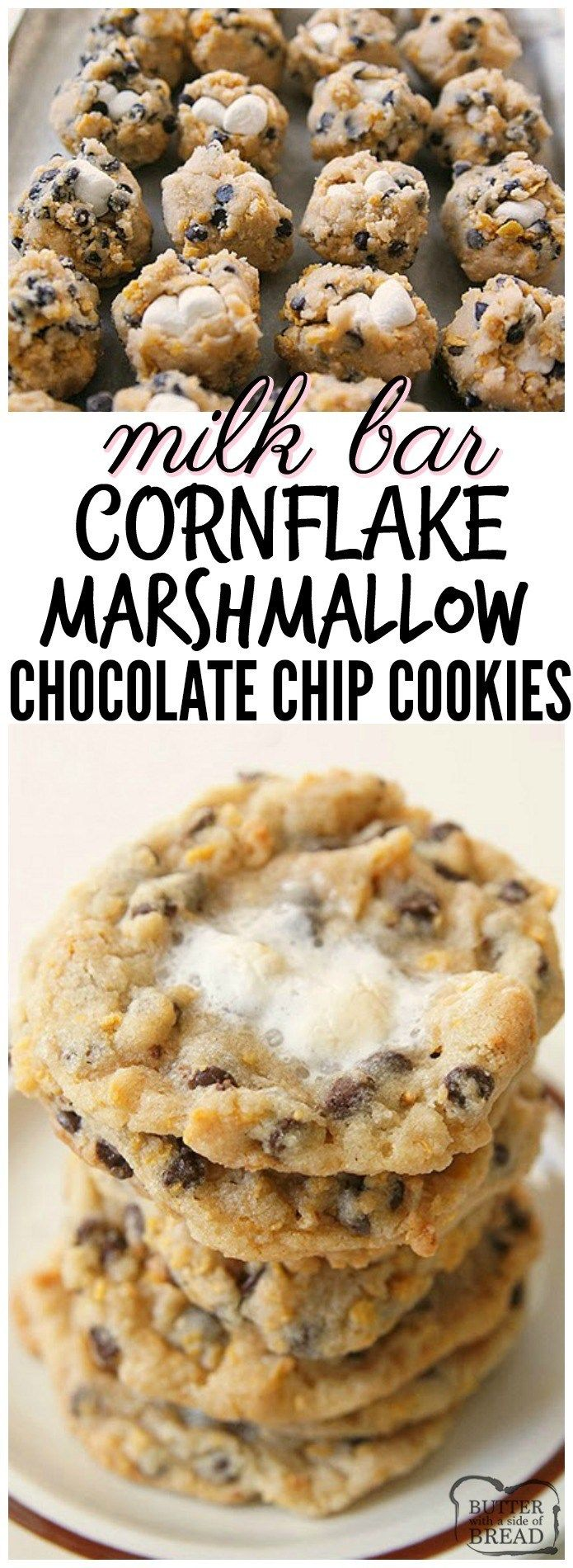 Milk Bar Cornflake Marshmallow Cookies just like the ones served in Momofuku Milk Bar in NYC! I think my version is even BETTER...and they're easier to make! See my tips and tricks on making these incredible cornflake chocolate chip cookies in your own kitchen. #milkBar #Cornflake #Marshmallow #Chocolate Chip #Cookies Copycat #recipe #dessert #food #momofuku #marshmallow