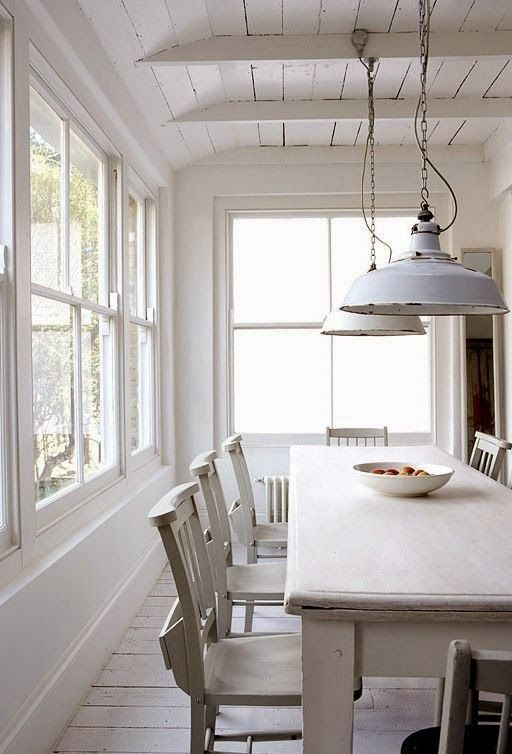 All White Dining Room White Dining Table Chairs Floorboards