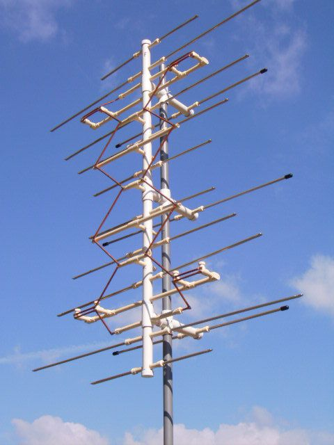 I recently completed this antenna made from parts and materials from home center and hardware store. From my rural area it picks up 48 channels/subchannelswhen aimed at transmitters 46milesnorth on the far side of Washington, D.C., USA, and 30 channels/subchannelswhen aimed at transmitters61 miles southwest on the far side of Richmond, VA. This model has high gainfor UHF and VHF-high channels while not being very large, weighs 7.5 pounds.My Inst...