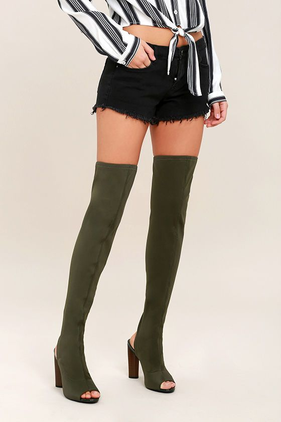 5a4abbe1c Watch yourself, because the Nala Olive Peep-Toe Over the Knee Boots are on