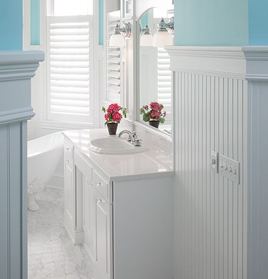 Charming Traditional Bathroom Design With Foxy White Beadboard In Bathroom Also Stunning White Vanity Design With Classic Sink And Faucet Also Classic Wall