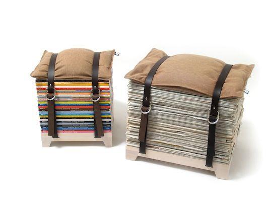 DIY Sitzhocker mit magazines and newspapers