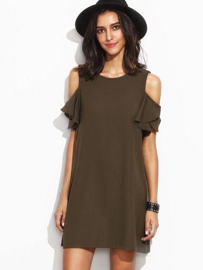 bfa3ac6d9db4 Shoulder · Army Green Cold Shoulder T-shirt Dress