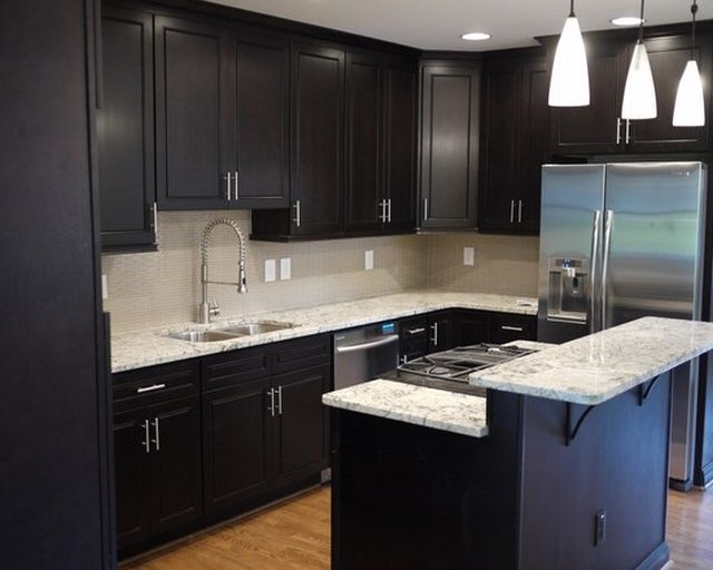 Modern Small Kitchen Design Dark Cabinets With Nice Pendant Lamp And L Shaped Kitchen Cabinet