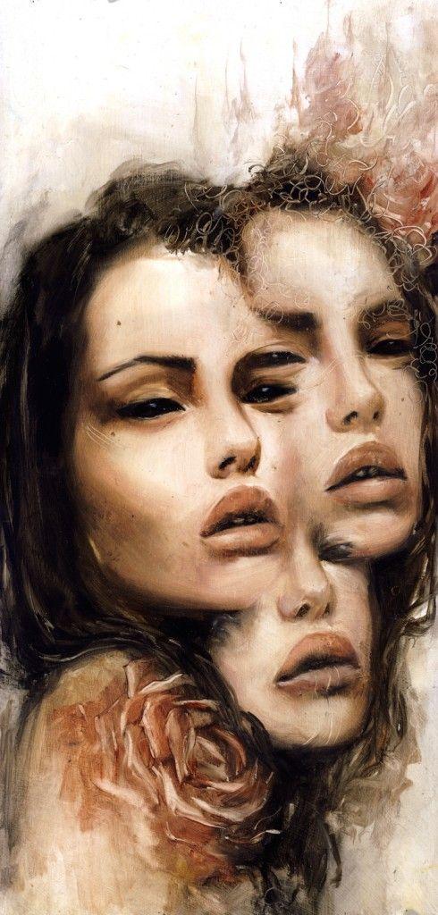 """""""Trinity"""" Charmaine Olivia. 7"""" x 16"""" on wood panel"""