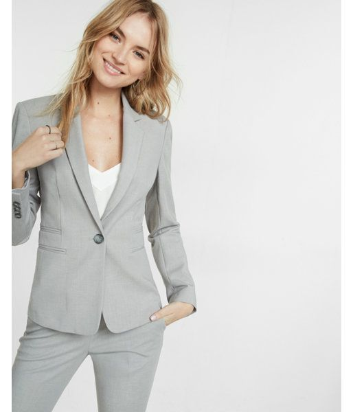 2b20070660d26f Light Gray One Button 24 Inch Jacket Gray Women's 14   Products in 2019   Grey  pants outfit, Jackets, Light grey suits