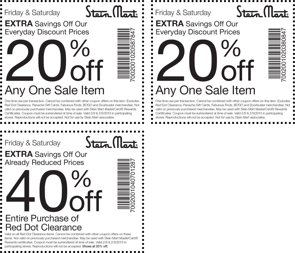 image relating to Stein Mart Printable Coupon known as Much more 40% off crimson dot clearance and excess at Stein Mart