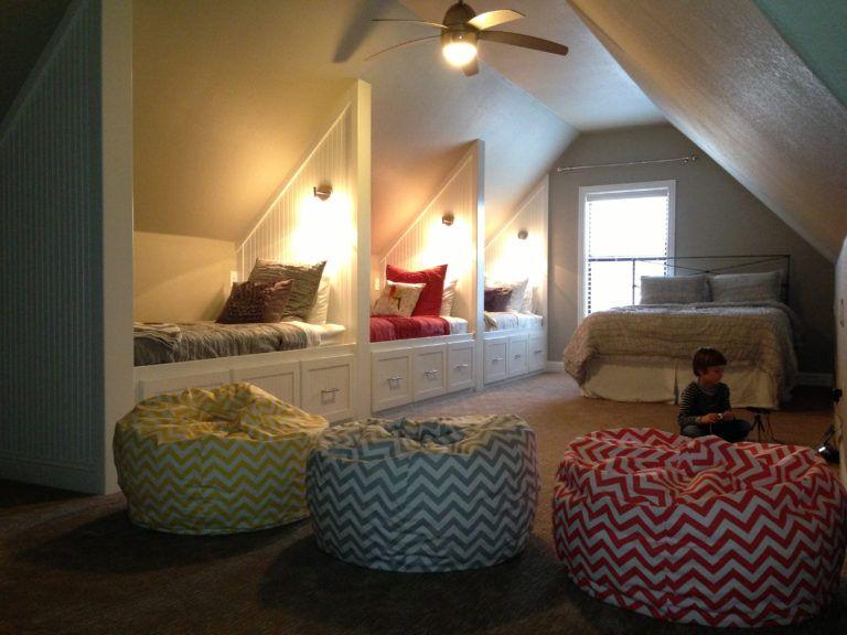 This Bonus Room Screams Sleepovers Kids Room Ideas Attic Rooms Loft Room Bonus Room