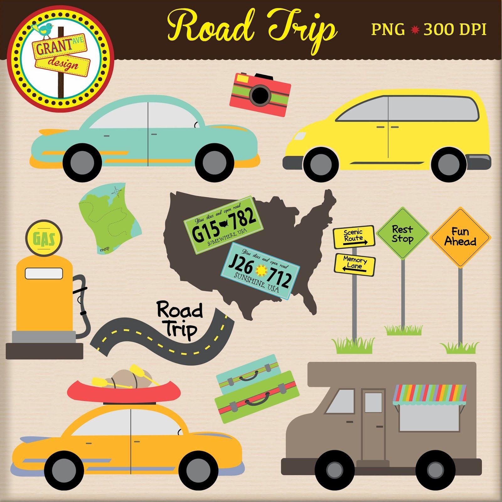 Road Trip Clipart Clip Art Digital Clip Art Road Trip