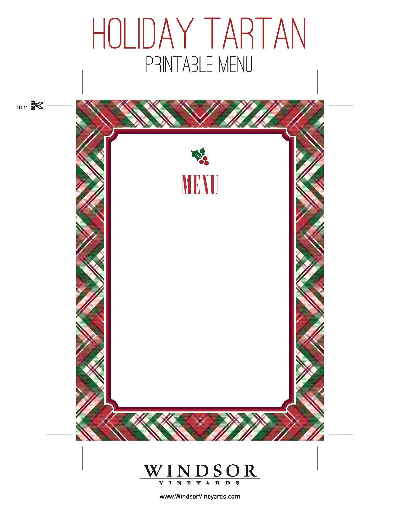 burns supper menu template - printable tartan menu template for holiday entertaining