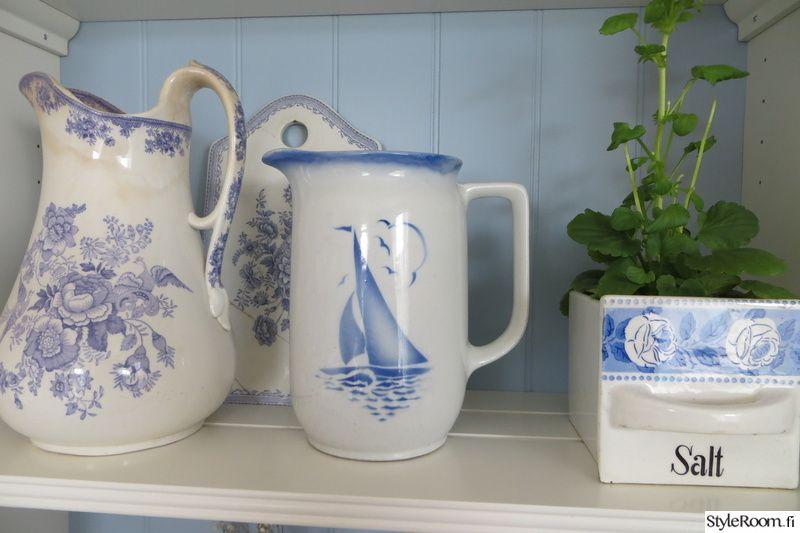 keittiö,maalaisromanttinen,romanttinen,sinivalkoinen,kirpputorilöytöjä