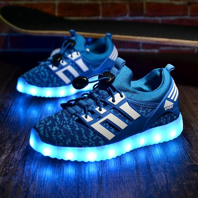 Kids Girls High Top LED Sneakers Luminous Light Sports Running Casual Shoes
