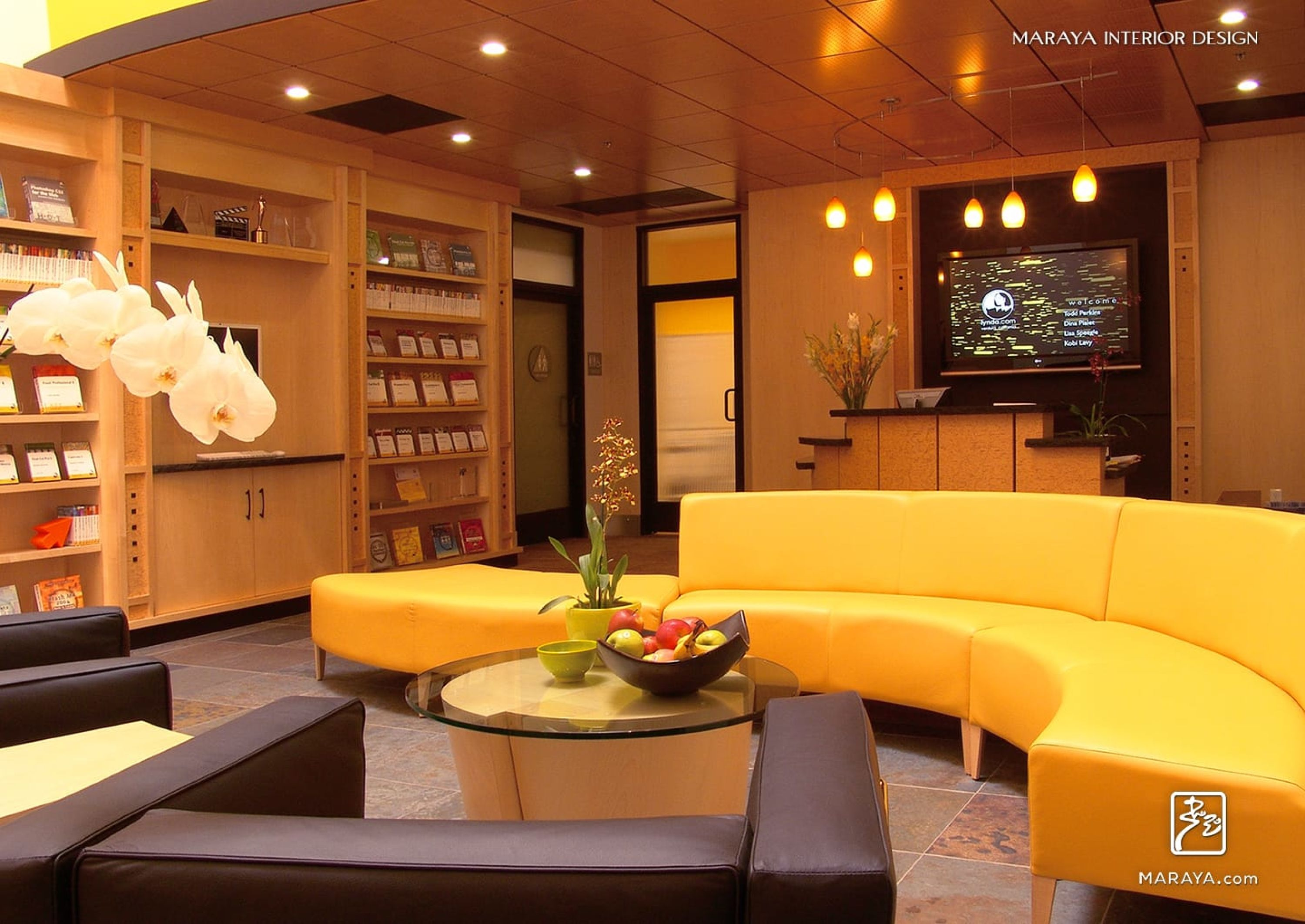 open office architecture images space. Lynda.com Open Modern Office. Yellow Curved Sofa In Reception Area. Maraya Interior Office Architecture Images Space
