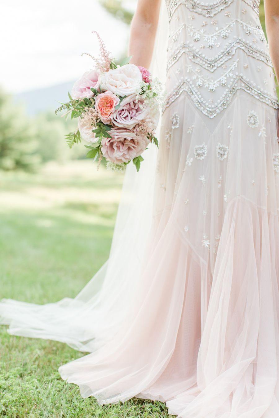 Design wedding dress  A Blushy Pink Gown in Perfect Vermont Setting  Event design Floral