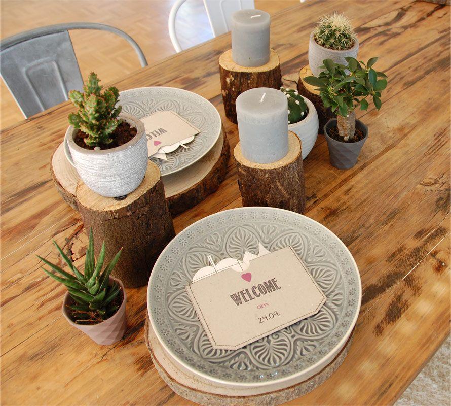 Tischdeko Mit Baumscheiben Roomilicious Room Design Pinterest