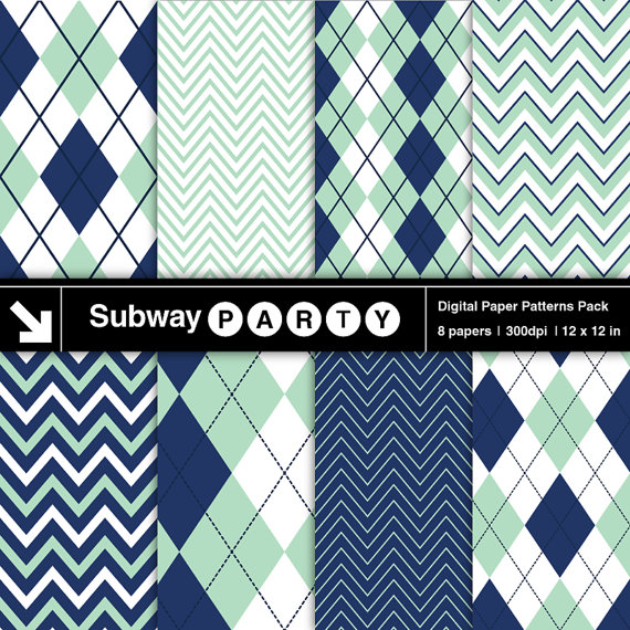 Instant Download Navy Blue And Green Mint Digital By Subwayparty