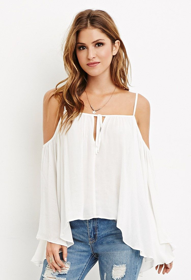 Drapey openshoulder blouse cutout shoulder top clothes
