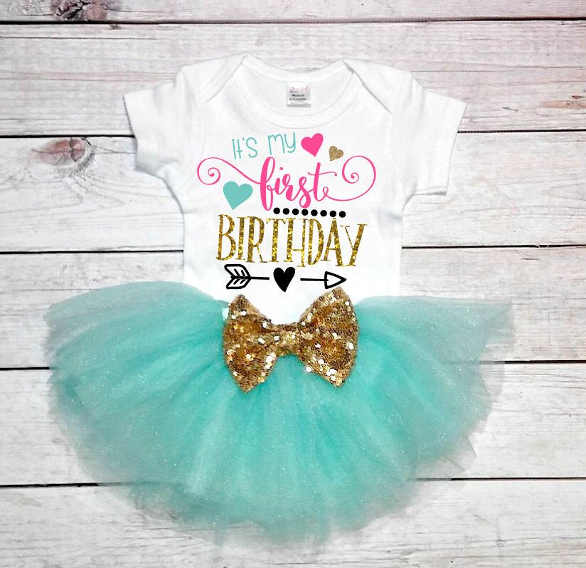 6fca27d902ad5 1st Birthday Girl- 1st birthday outfit-Mint and Gold outfit-Blue and Gold