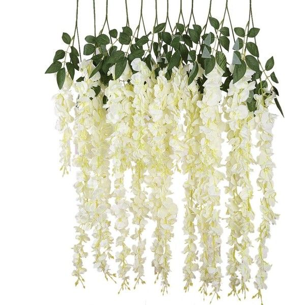 Luyue 318 feet artificial silk wisteria vine ratta silk hanging winter wedding decorations luyue feet artificial silk wisteria vine ratta silk hanging flower wedding pieceswhite white check out the image by mightylinksfo Images