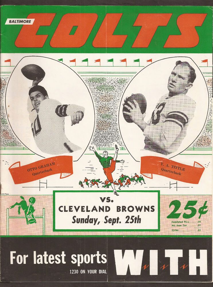 sept 25 1949 colts/browns football program tittle/graham outstanding cover from $165.0