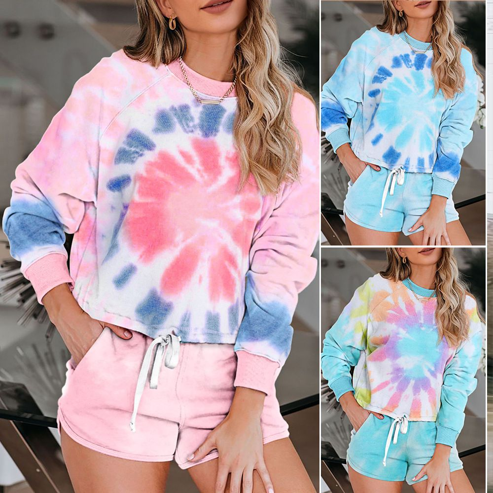 Womens Tie-Dye V-Neck Tracksuit Short-Sleeved Tops Sports Yoga Shorts Suit