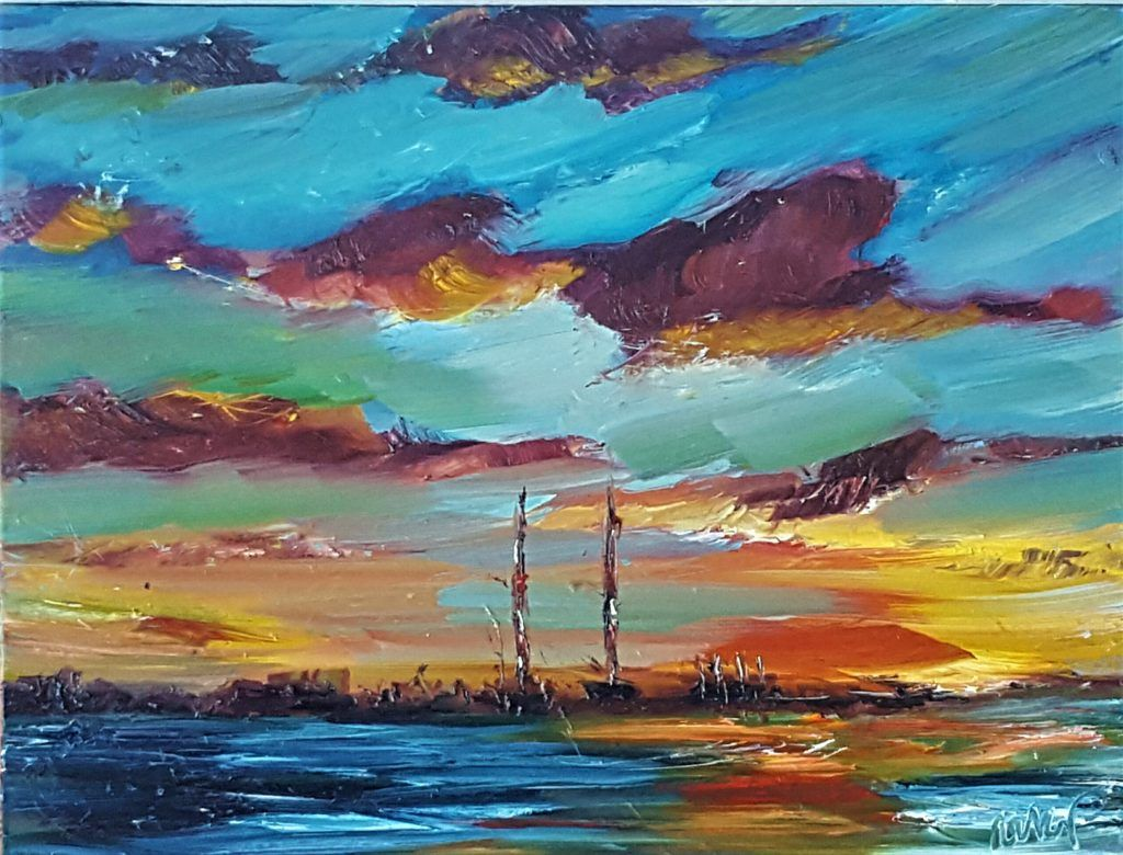 Sunrise Over The Poolbeg Chimneys Sandymount Dublin By Niki Purcell Sunrise Dublin Irish Art