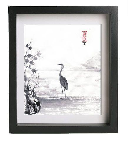 Original Japanese art  Blue Heron  sumie drawing  by AnimaAllegra,