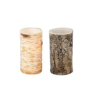 Home Accents Holiday, 6 in. LED Birch or Bark Pillar Candle, 42271HD at The Home Depot - Mobile
