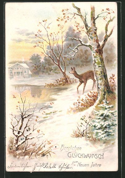 Alte Ansichtskarte: AK Ein Reh auf einer verschneiten Waldlichtung