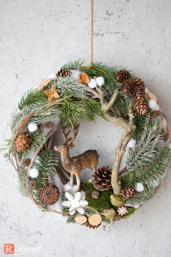 Türkranz Winter, Türkranz Weihnachten, Türkranz mit Hirsch, Winterlandschaft Nr.3 #weihnachtsbastelnnaturmaterialien