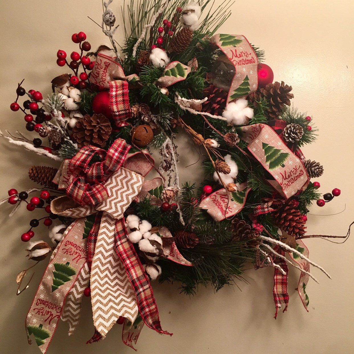 Rustic Farmhouse Pine Christmas Wreath (With images