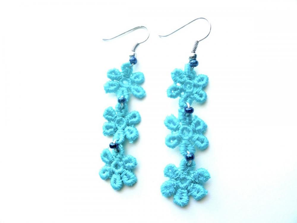 Teal Flower Lace Earrings