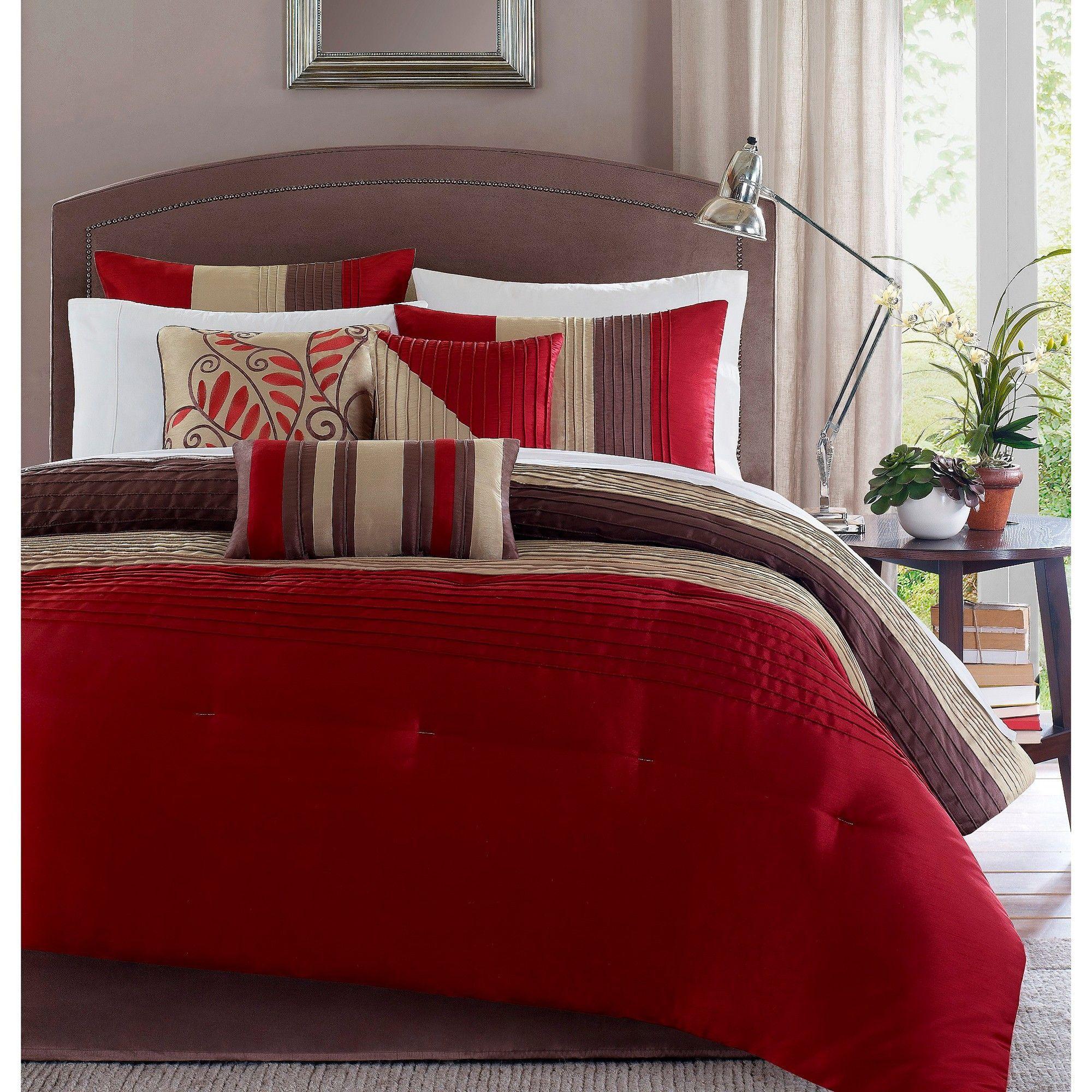 Salem 7 Piece Comforter Set Red California King Red