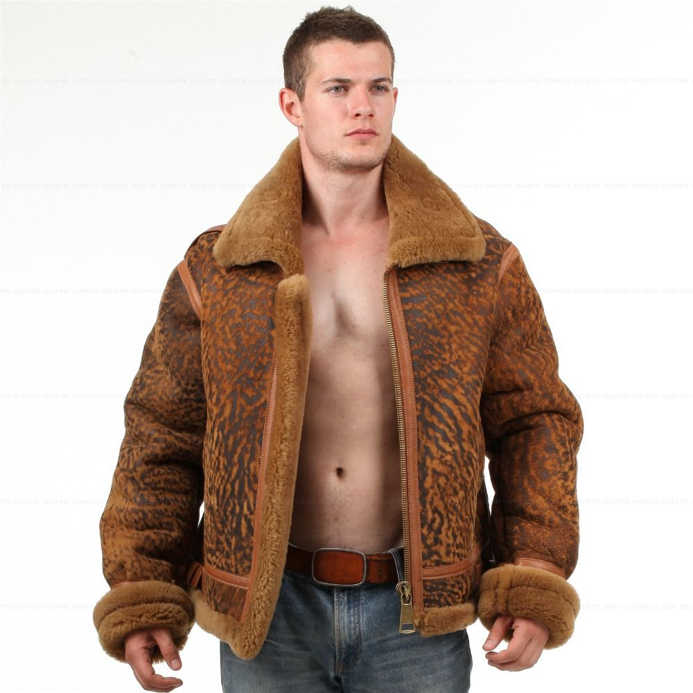 B3 Jacket air sheepskin Bomber Fur Vintage military pilot flight ...
