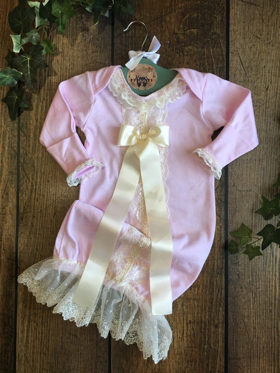 Pink Baby Girl Layette Gown Coming Home Outfit – Sweet Adelace ...