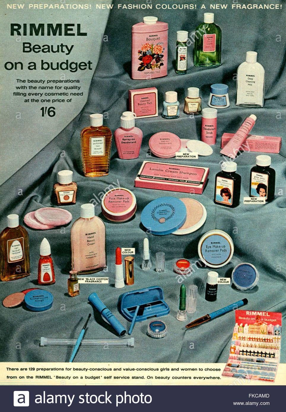 1960er Jahre UK Rimmel Magazin Anzeige Stockfoto, Bild