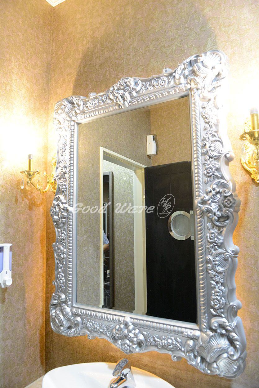 this is a silver color mirror frame molding put it in the bathroom to make ur bathroom more elegant ur customer will be surprised by the beautiful mirror - Mirror Frame Molding