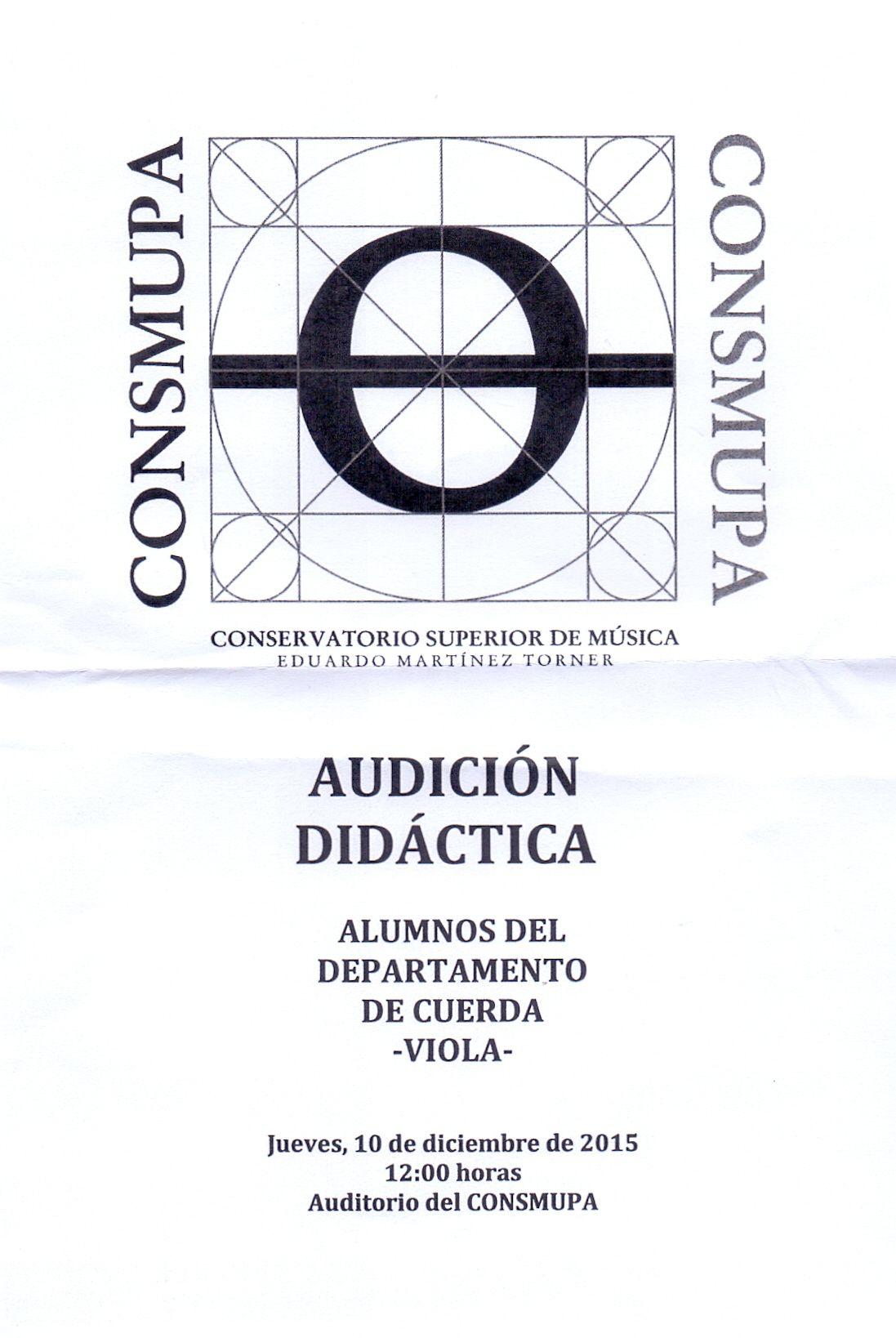 """Audición didáctica cuerda. Conservatorio Superior de Música """"Eduardo Martínez Torner"""". 10 de diciembre de 2015"""