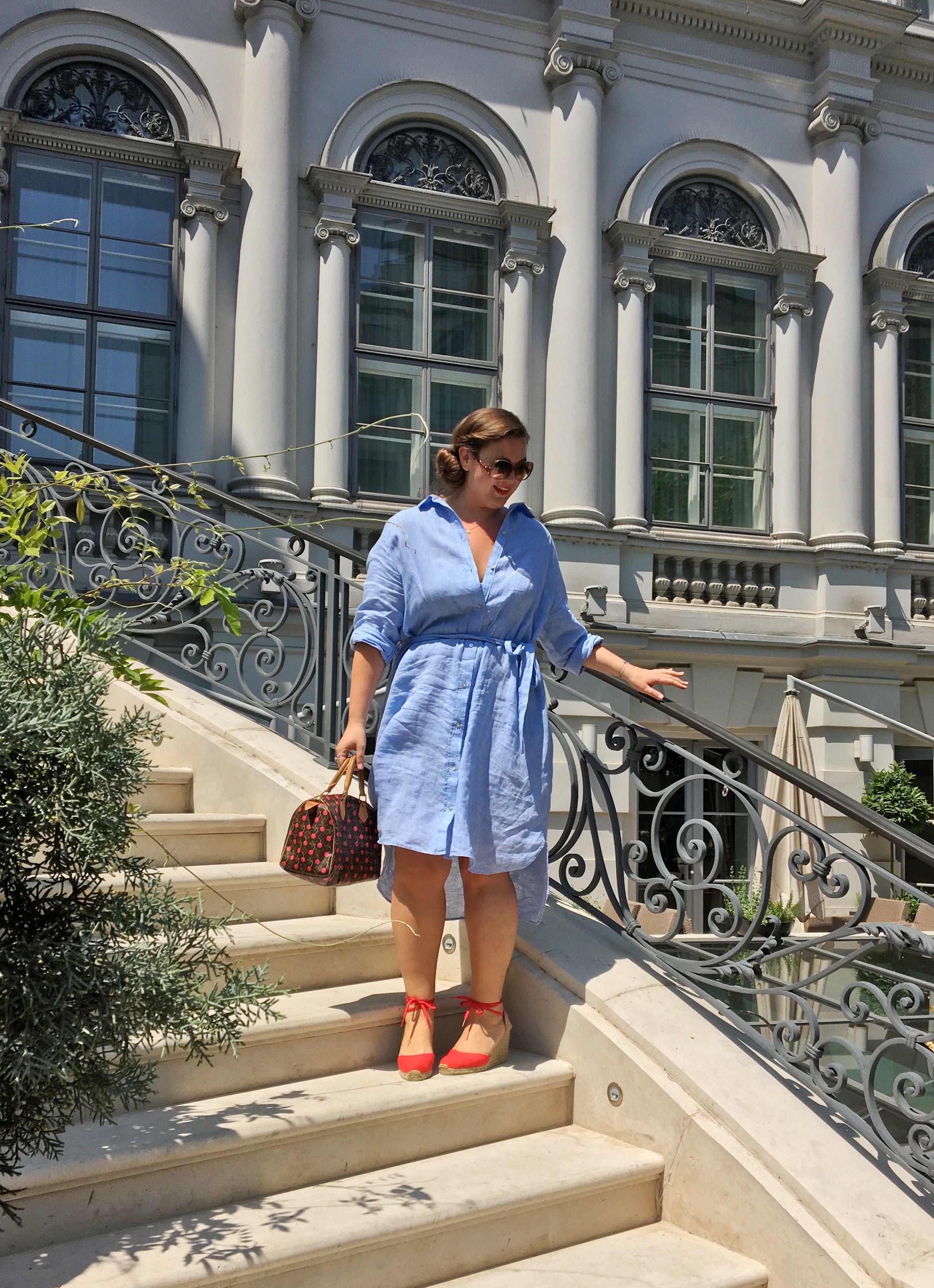 Linen Dress & Espadrille Wedges - Mangoblüte