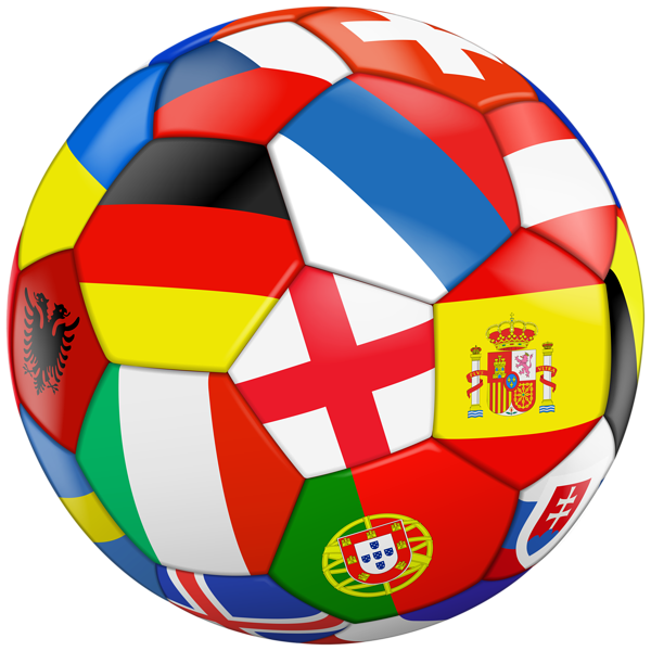Football with Flags Transparent PNG Clip Art Image